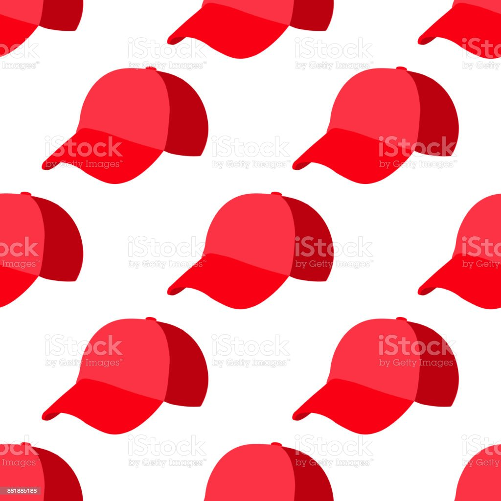 Baseball red cap advertising isolated on white background. Advertising pattern stock vector illustration. vector art illustration