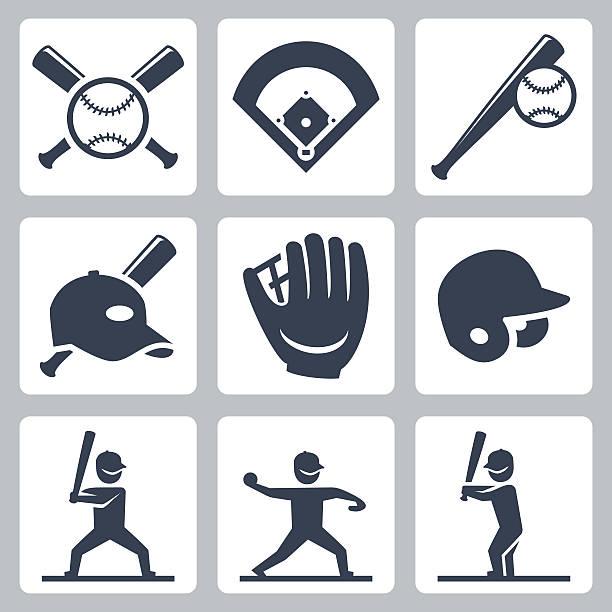 野球関連のベクトルのアイコンを設定します。 - ソフトボール点のイラスト素材/クリップアート素材/マンガ素材/アイコン素材