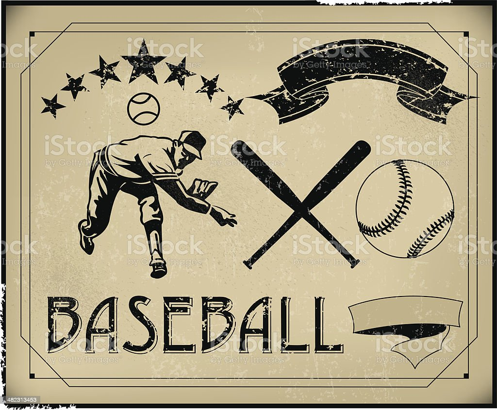 baseball retro poster items create your own stock vector art more