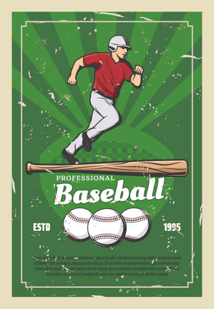 Baseball retro poster with sport items and player Baseball sport retro poster player running for ball and wooden bat. Team game for professional sportsmen, tournament announcement. Fit man in uniform and cap on grass field vector, champion league infield stock illustrations