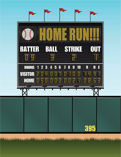 baseball scoreboard - baseball stadium stock illustrations, clip art, cartoons, & icons