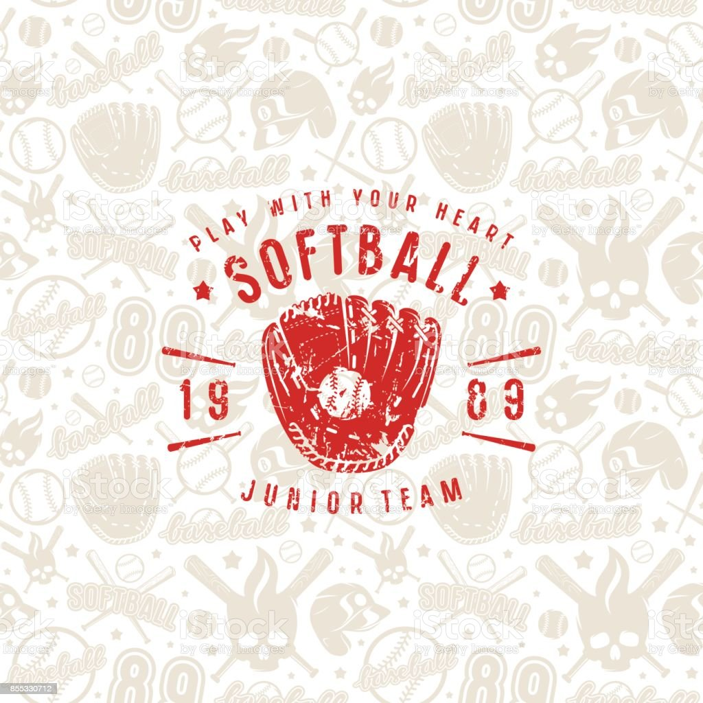 Baseball seamless pattern and emblem of softball team vector art illustration