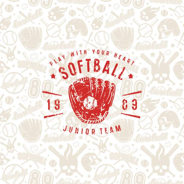 baseball seamless pattern and emblem of softball team - softball stock illustrations, clip art, cartoons, & icons
