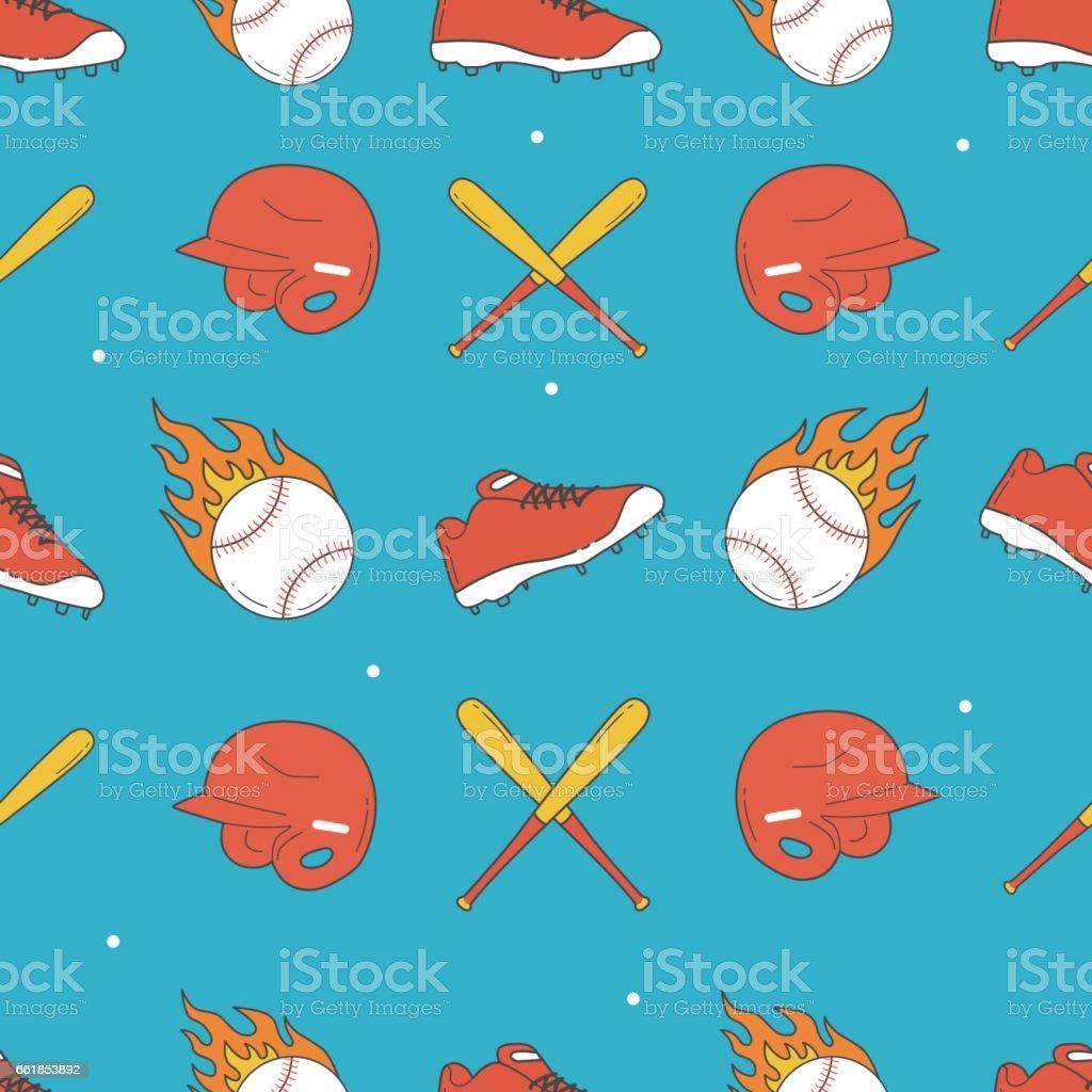 Baseball Seamless Pattern. Baseball Shoes, Helmet and Bat Pattern vector art illustration