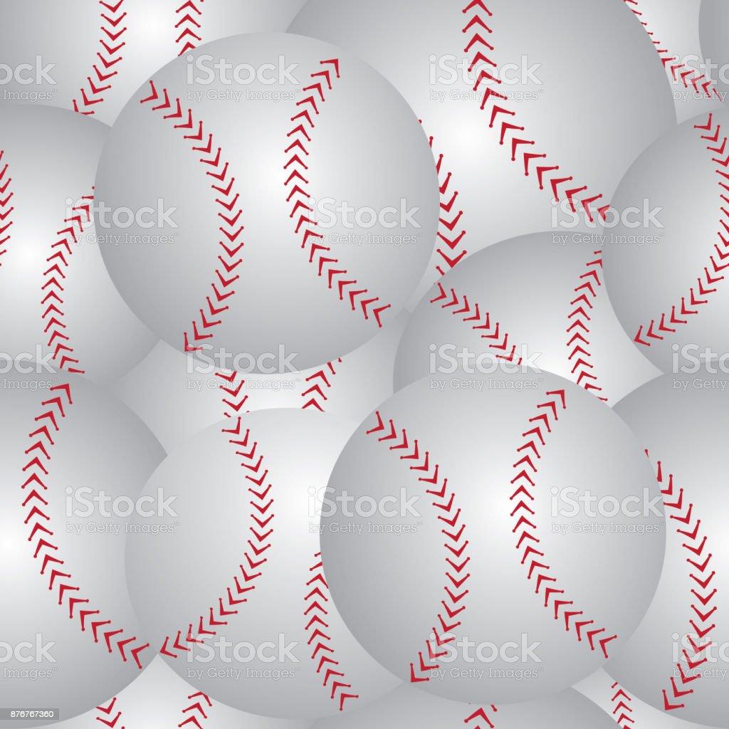 Baseball seamless pattern vector art illustration