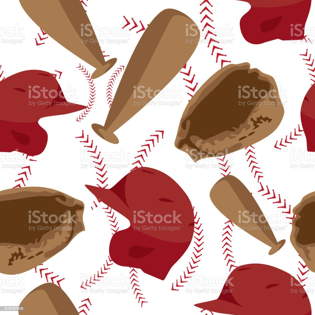 Baseball seamless pattern with equipment. vector art illustration