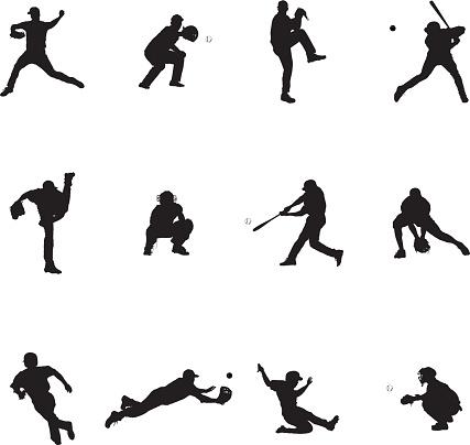 Baseball Set Of Twelve Black Vector Silhouette Illustrations