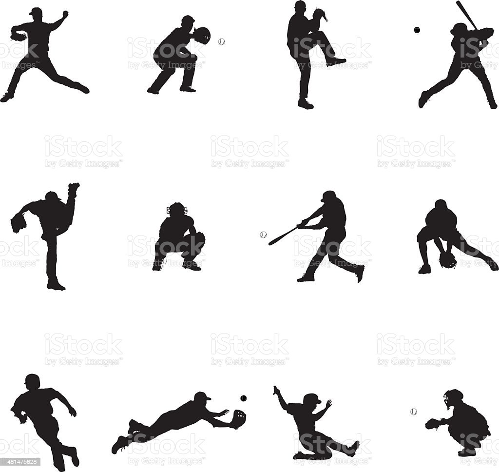 Baseball Set Of Twelve Black Vector Silhouette Illustrations vector art illustration