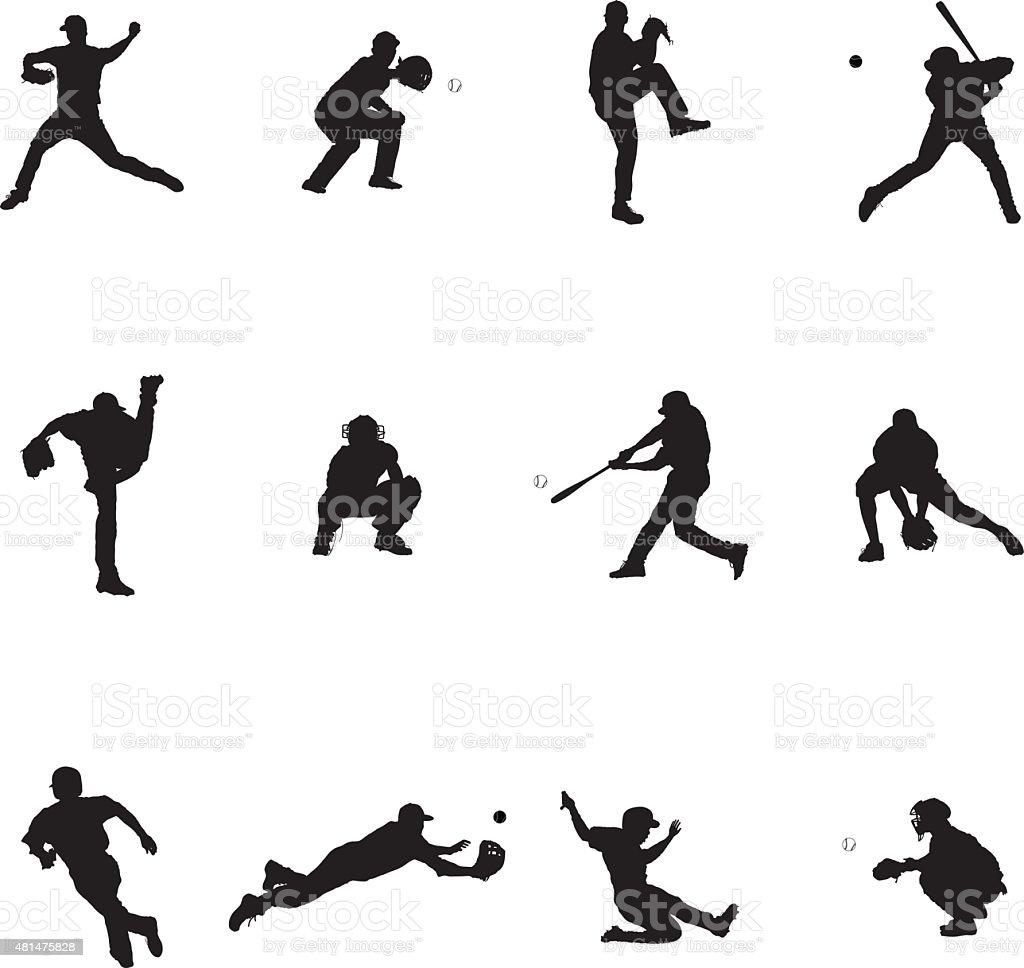 Baseball ensemble de douze vecteur noir Silhouette Illustrations - Illustration vectorielle