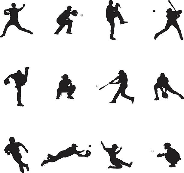 Baseball ensemble de douze vecteur noir Silhouette Illustrations - Illustration vectorielle