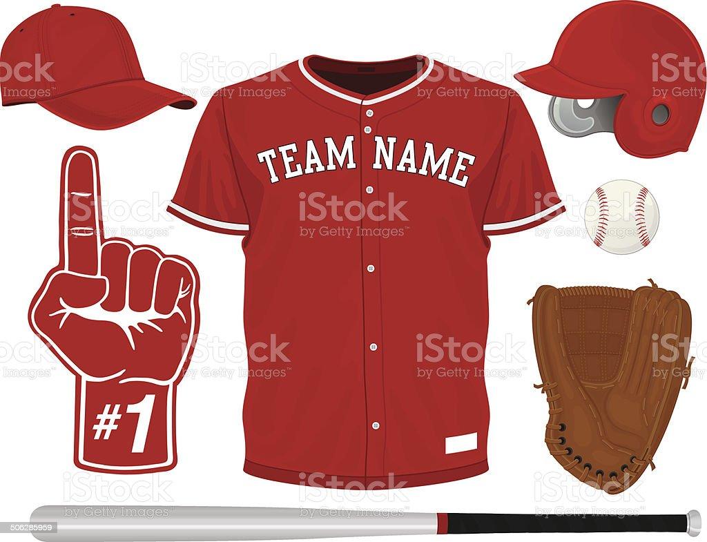 Baseball Set vector art illustration