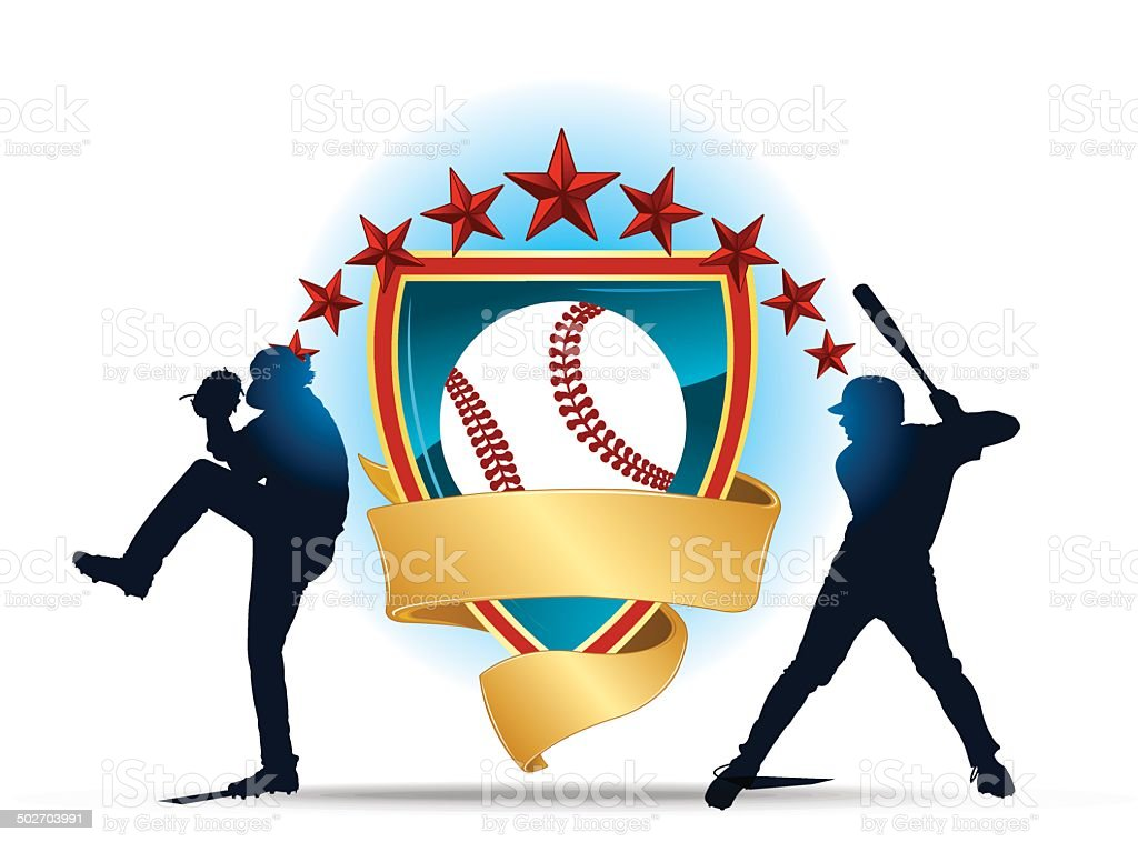 Baseball Shield Banner - Pitcher, Batter vector art illustration