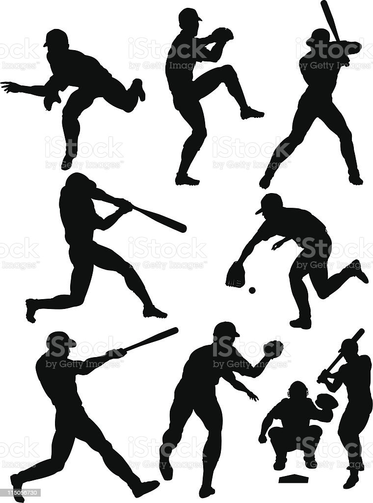 Baseball silhouettes royalty-free stock vector art
