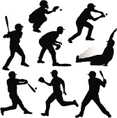 Collection of detailed baseball player silhouettes.