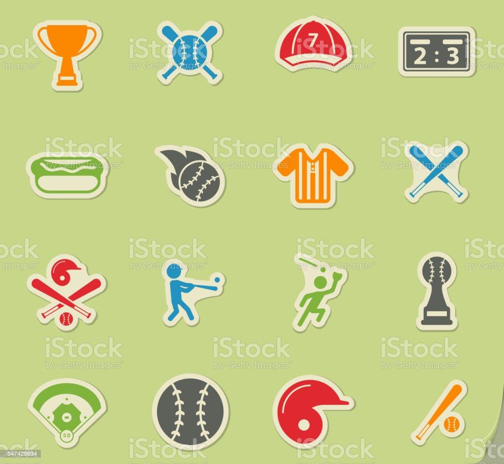 Baseball simply icons vector art illustration