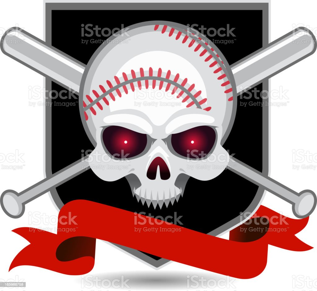 Baseball Skull Insignia royalty-free stock vector art