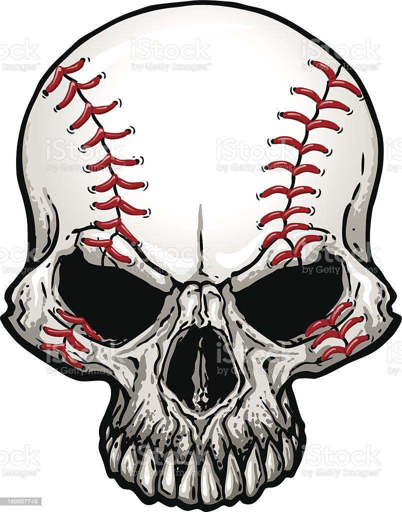 Baseball Skull vector art illustration