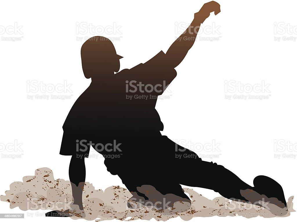 Baseball Slide vector art illustration