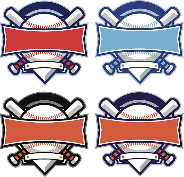 野球&ソフトボールダイアモンドカットアウトデザインバナー、バット - ソフトボール点のイラスト素材/クリップアート素材/マンガ素材/アイコン素材