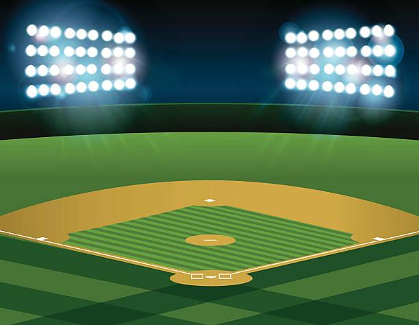 baseball softball field lit at night - baseball stadium stock illustrations, clip art, cartoons, & icons
