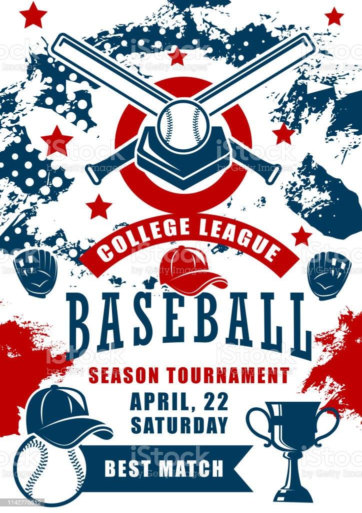Baseball sport game season tournament of college league vector...