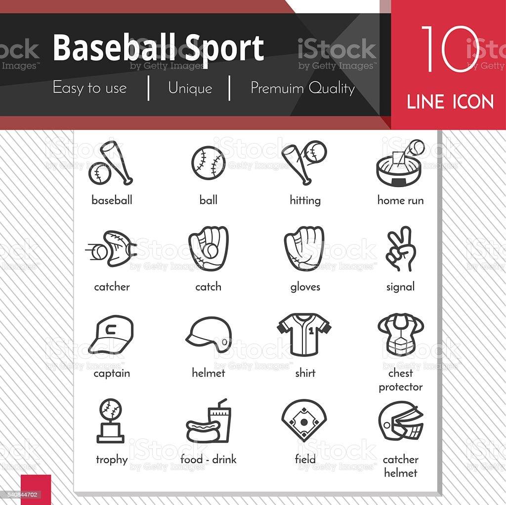 Baseball sport elements vector black icons set on white background. vector art illustration