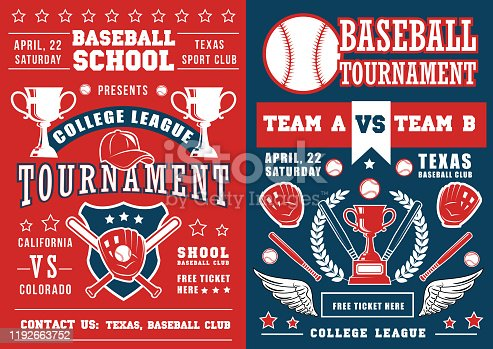 istock Baseball sport game poster, ball and bat 1192663752
