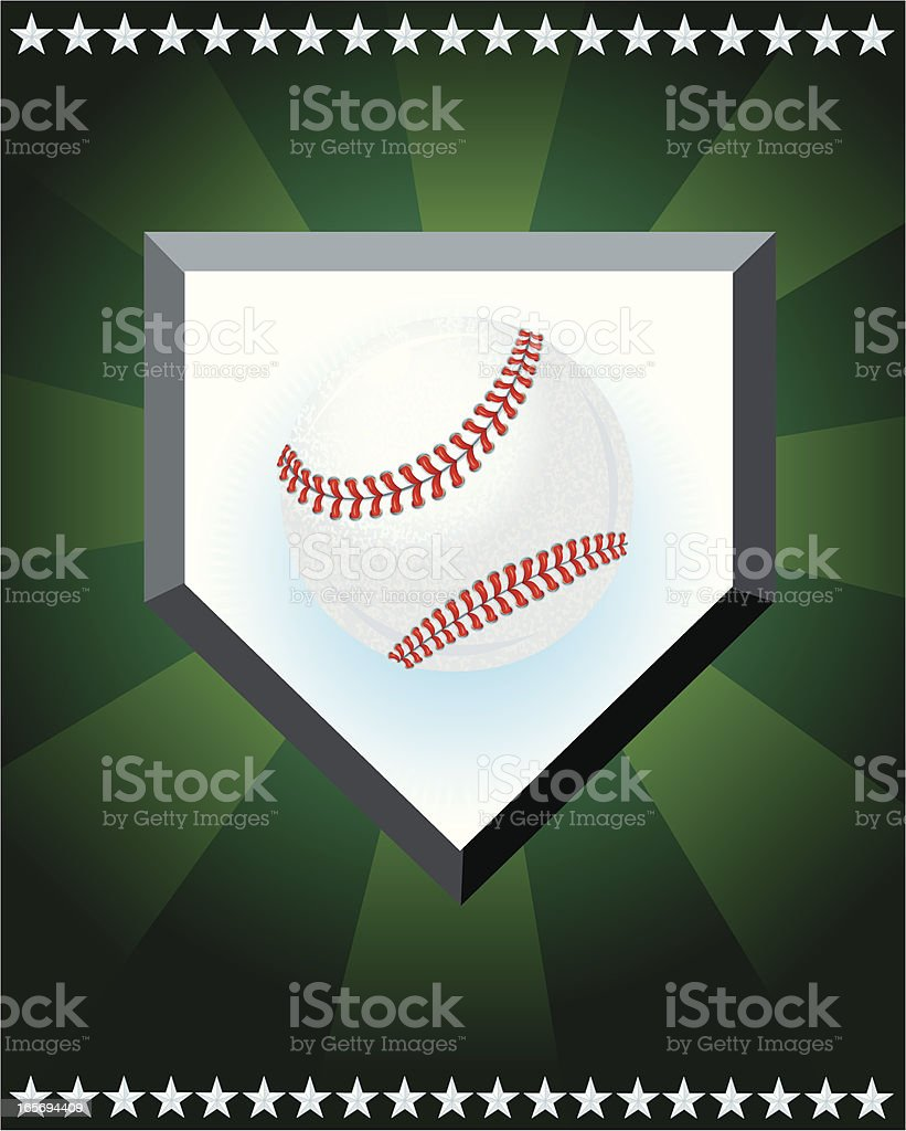 Graphic illustration of a baseball, home plate and stars. Layered for...