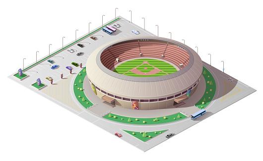 Baseball sport stadium 3d isometric building