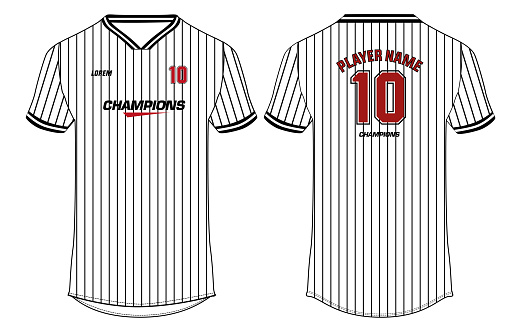 Baseball Sports jersey t shirt design concept vector template, sports active wear concept with front and back view for football, Cricket, soccer, Volleyball, Rugby, tennis and badminton uniform