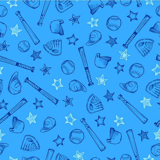 Baseball Sports Sketch Seamless Pattern vector art illustration