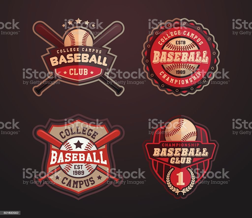 Baseball sports template with ball and bats vector art illustration