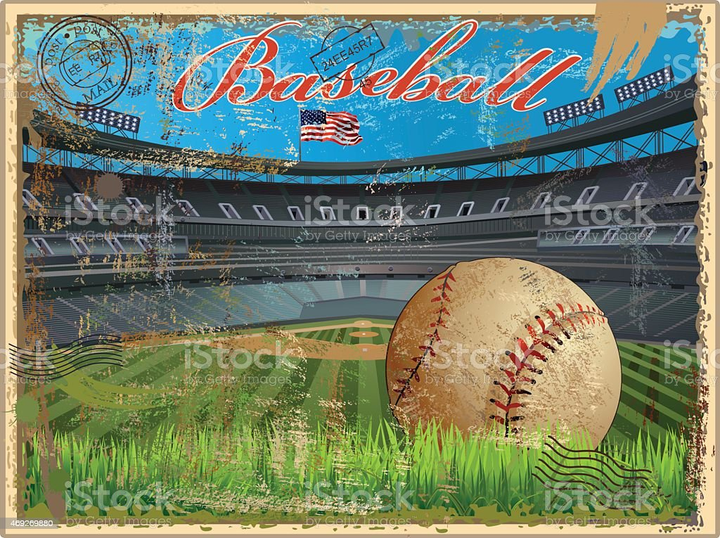 Baseball stadium and ball in a vintage postcard vector art illustration