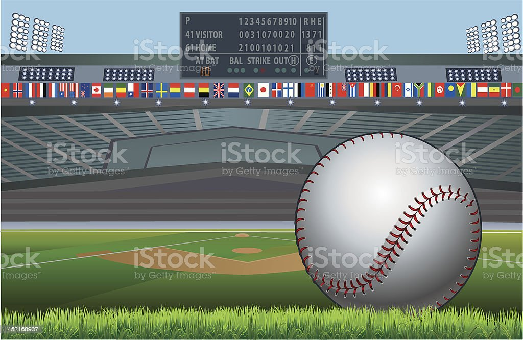Baseball stadium and flags of the world vector art illustration