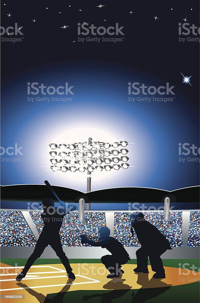 Baseball Stadium at Night with Batter, Catcher, Umpire vector art illustration