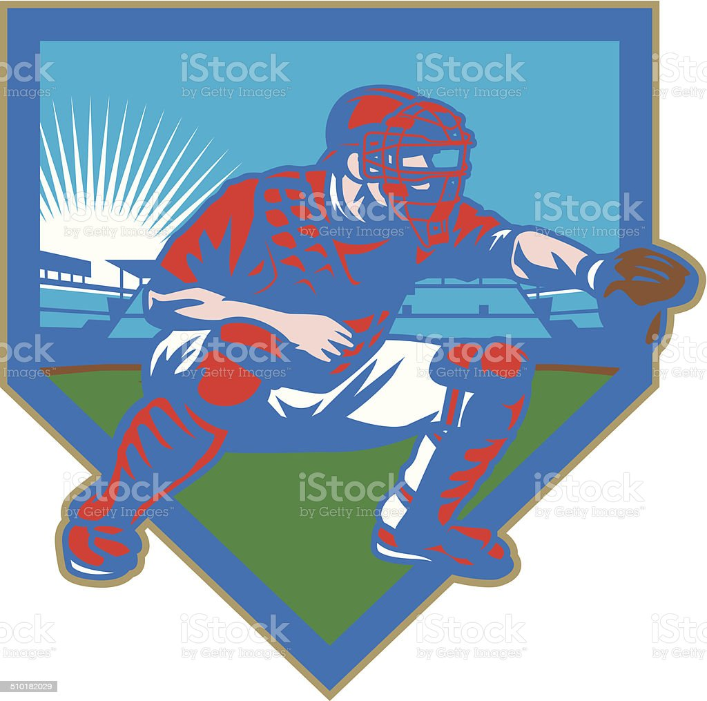 Baseball Stadium Catcher vector art illustration