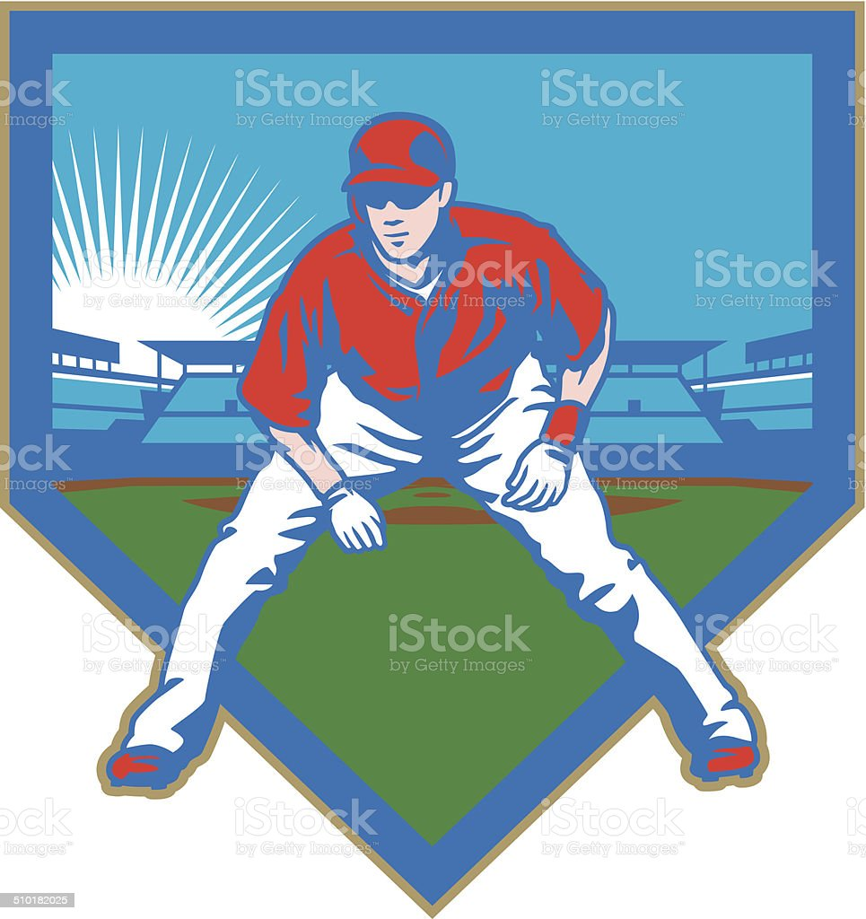 Baseball Stadium Runner vector art illustration