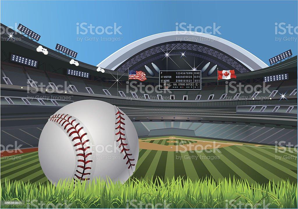 Baseball stadium  USA and Canada Flag vector art illustration