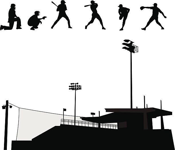 baseball stadium vector silhouette - baseball stadium stock illustrations, clip art, cartoons, & icons