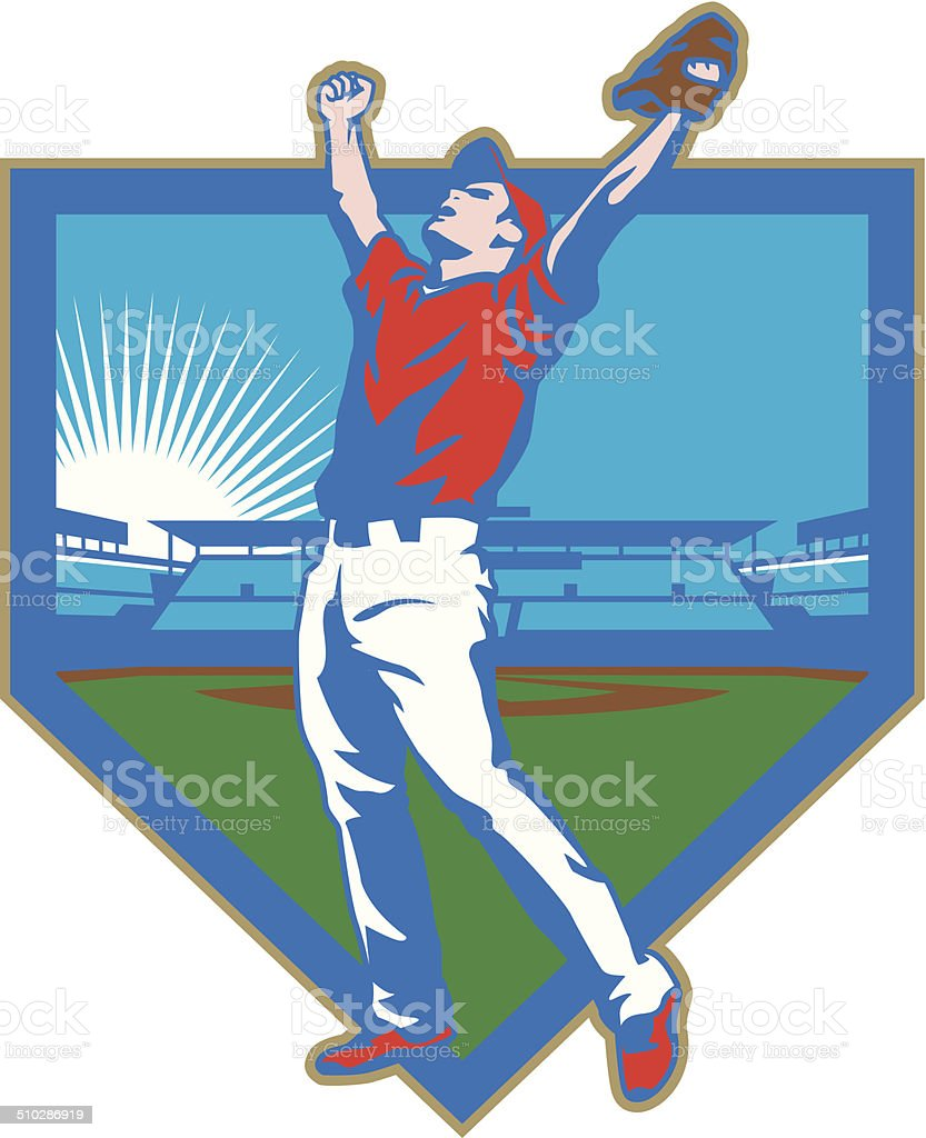 Baseball Stadium Victory vector art illustration