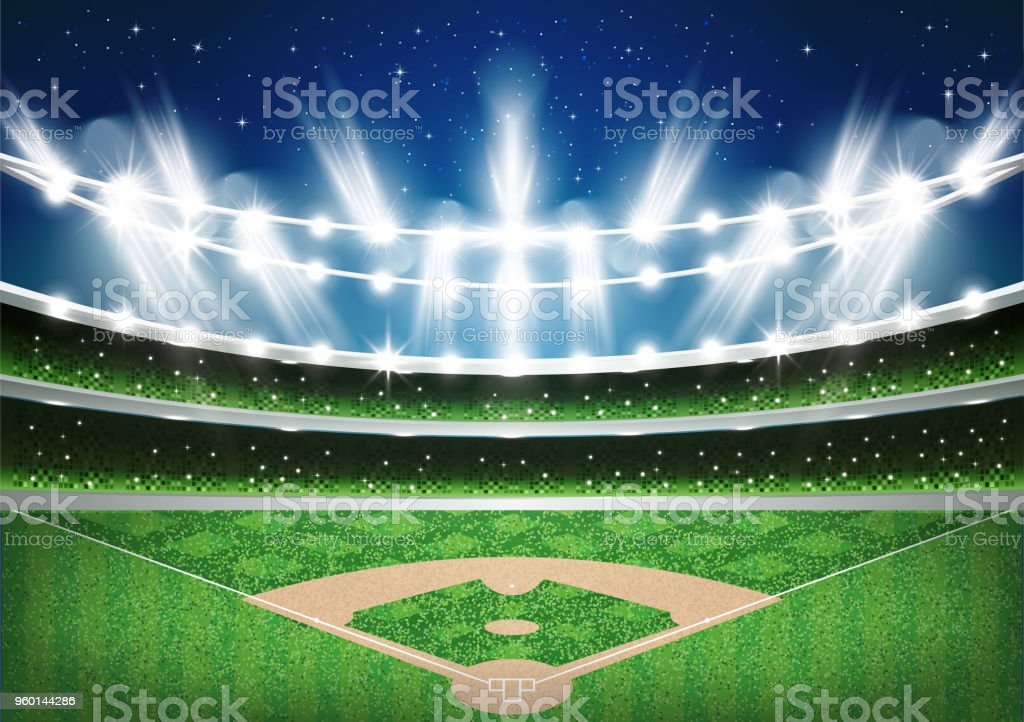Baseball Stadium with Neon Lights. Arena. vector art illustration