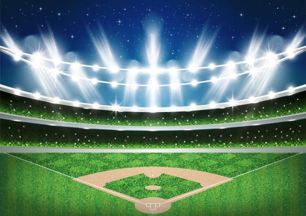 ilustraciones, imágenes clip art, dibujos animados e iconos de stock de estadio de béisbol con luces de neón. arena. - béisbol