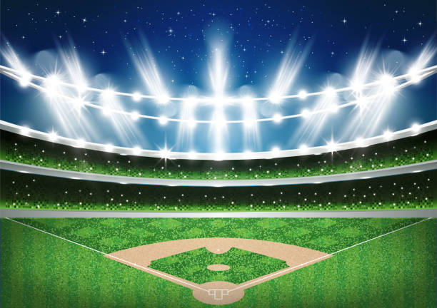 baseball stadium with neon lights. arena. - baseball stadium stock illustrations, clip art, cartoons, & icons