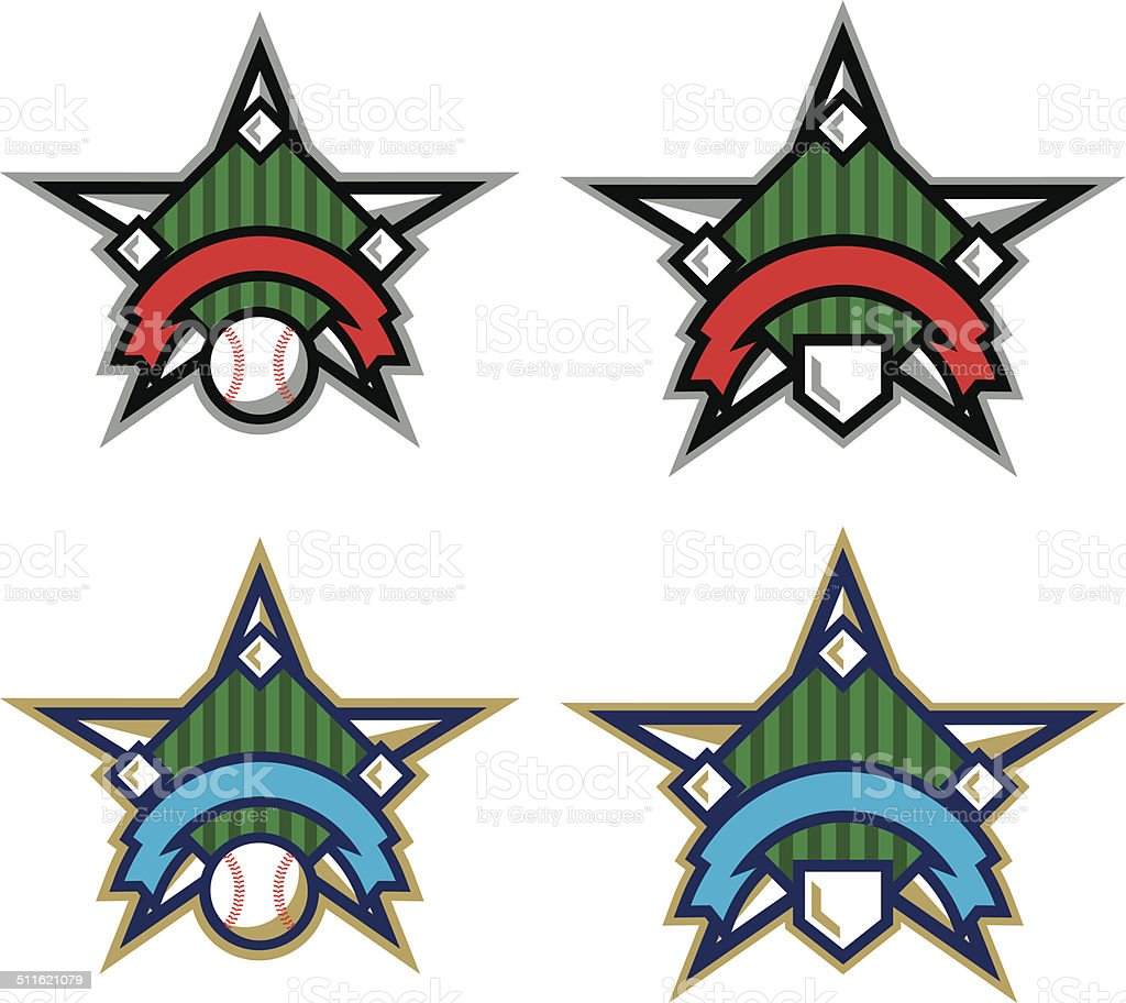 Baseball Star Logo vector art illustration