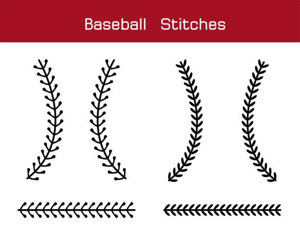 baseball  stitches  on a white background , vector design - baseball stock illustrations