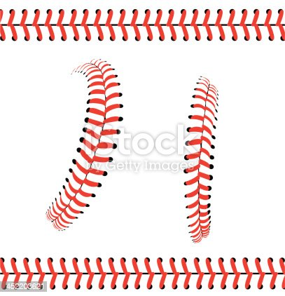 Baseball Stitches Or Laces Graphic Pattern Stock Vector