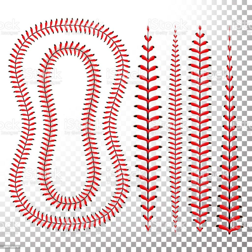 Ilustración de Vector De Puntos De Sutura De Béisbol Encaje De Una ...