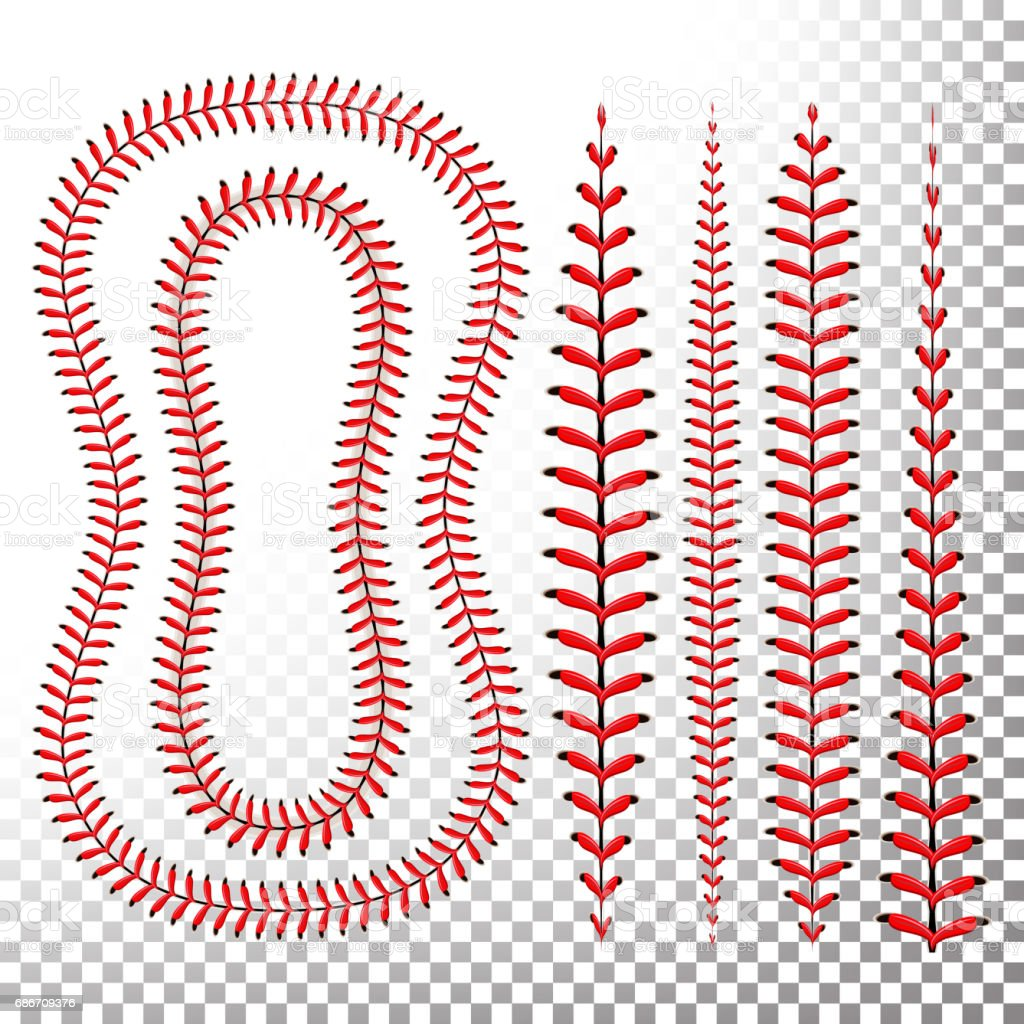 Baseball Stitches Vector. Lace From A Baseball Isolated On Transparent. Sports Ball Red Laces Set vector art illustration