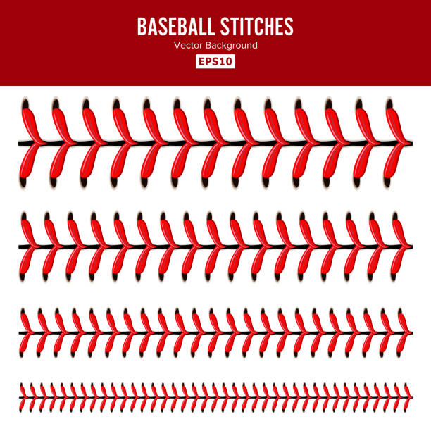 baseball stitches vector. lace from a baseball isolated on white. sports ball red laces set - softball stock illustrations, clip art, cartoons, & icons