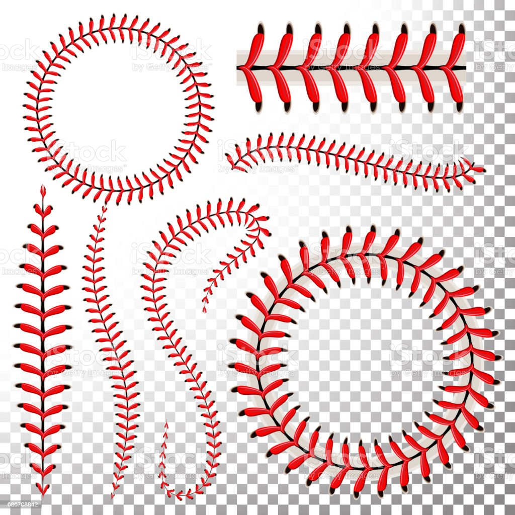 Baseball Stitches Vector Set. Baseball Red Lace Isolated On Transparent Background. Seam Baseball Ball, Seam Of Red Thread Illustration